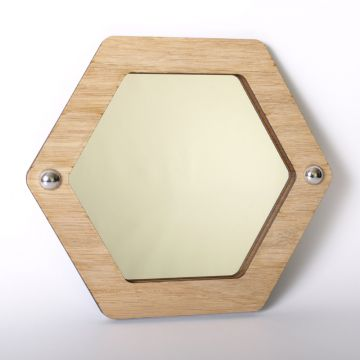 Hexagon mirror (wood frame)