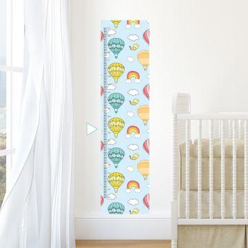 Hot air balloons height chart wall sticker