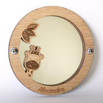 Personalised giraffe mirror (wood frame)