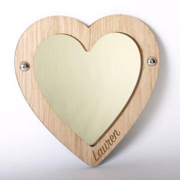 Personalised heart mirror (wood frame)