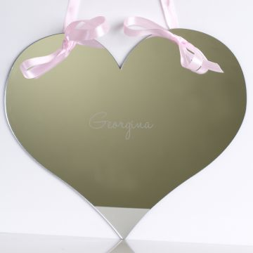 Personalised Love Heart Mirror with ribbon
