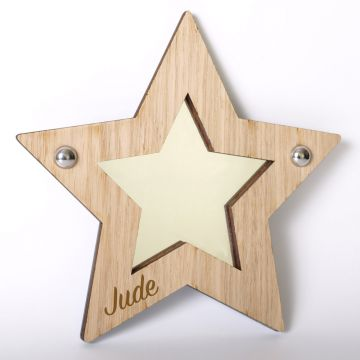 Personalised star mirror (wood frame)
