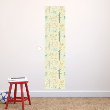Sketched forest animals height chart wall sticker