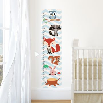 Woodland animals height chart wall sticker