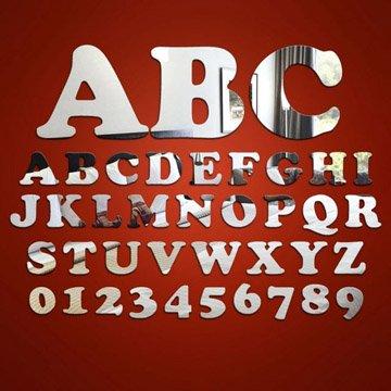 Alphabet Letter & Number (20cm) Mirrors - Cooper Black font