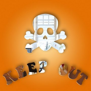 Skull 'Keep Out' door sign mirror pack