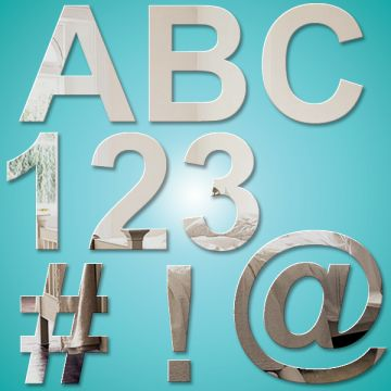 Alphabet Letter & Number (10cm) Mirrors (Arial bold)