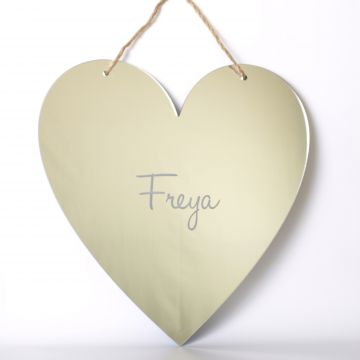 Personalised heart shaped mirror with twine