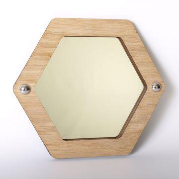 Hexagon mirror (wood frame)