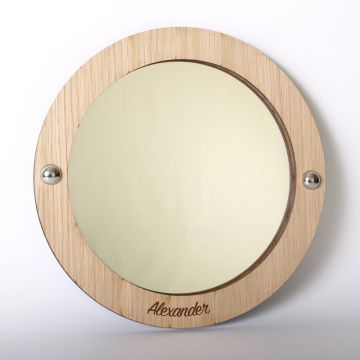 Personalised circle mirror (wood frame)