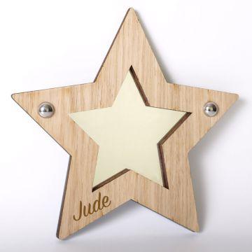 Personalised star mirror (wood frame)